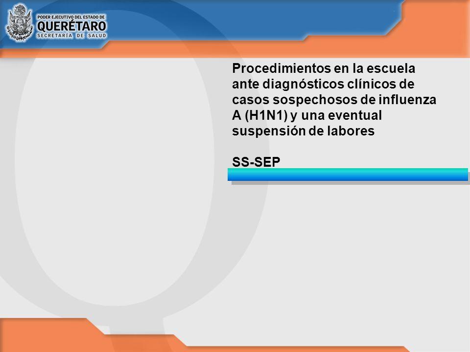 Procedimientos en la escuela ante diagnósticos clínicos de casos sospechosos de influenza A (H1N1) y una eventual suspensión de labores