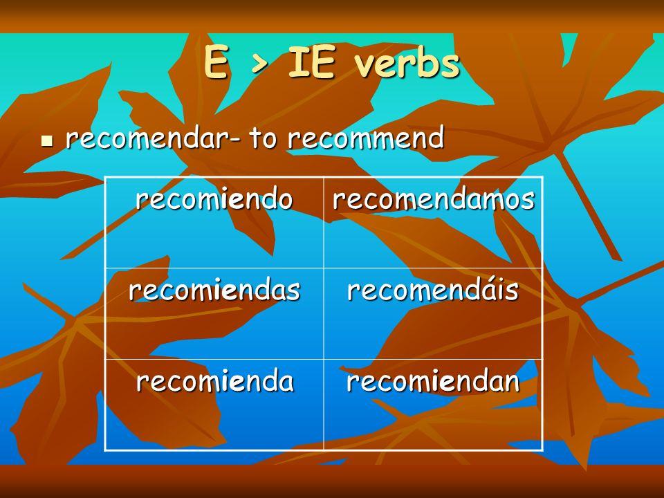 E > IE verbs recomendar- to recommend recomiendo recomendamos