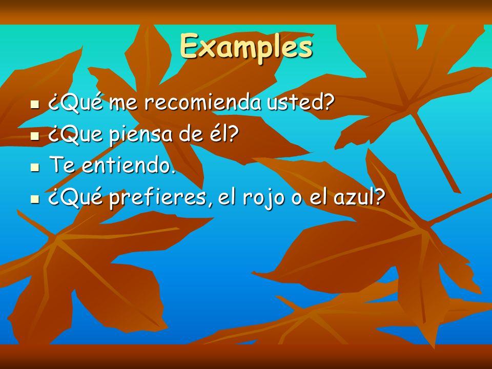 Examples ¿Qué me recomienda usted ¿Que piensa de él Te entiendo.