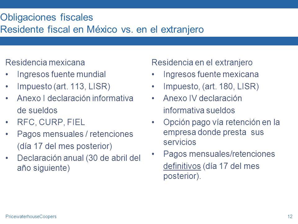 Obligaciones fiscales Residente fiscal en México vs. en el extranjero
