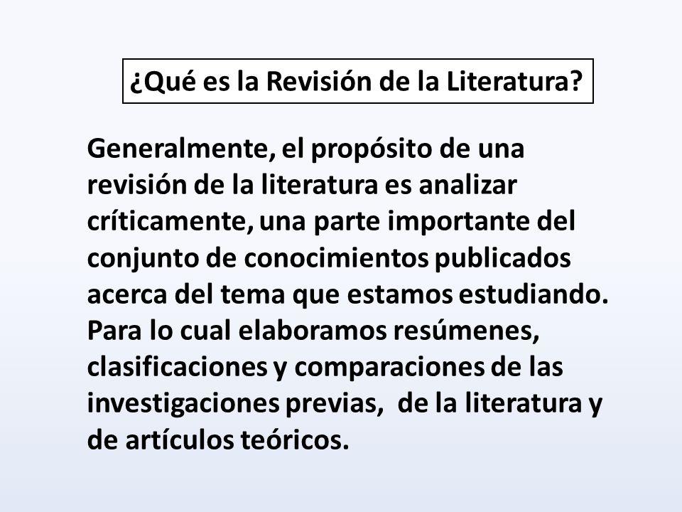 ¿Qué es la Revisión de la Literatura