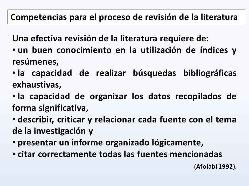 Competencias para el proceso de revisión de la literatura