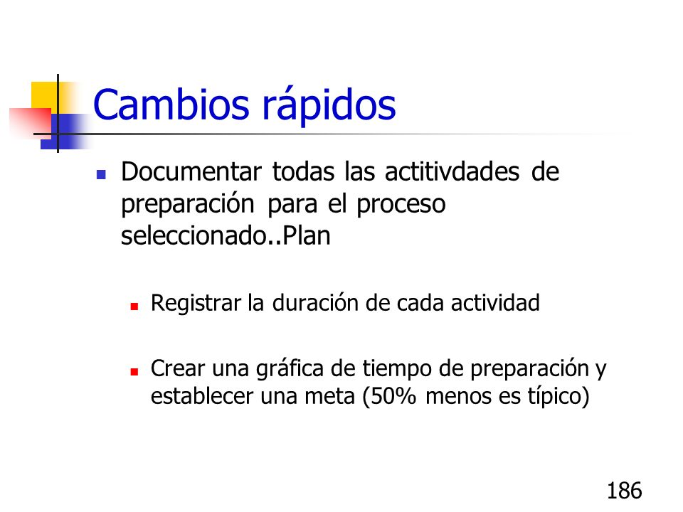 Cambios rápidosDocumentar todas las actitivdades de preparación para el proceso seleccionado..Plan.