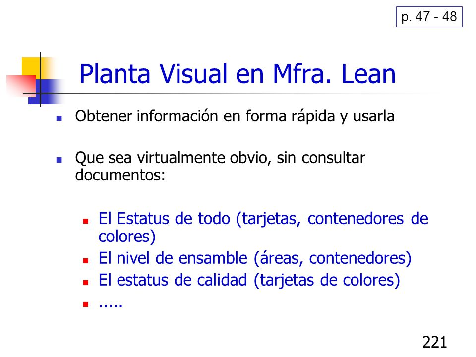 Planta Visual en Mfra. Lean