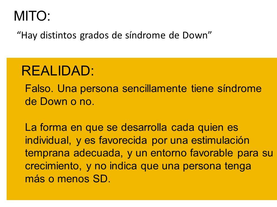 MITO: REALIDAD: Hay distintos grados de síndrome de Down