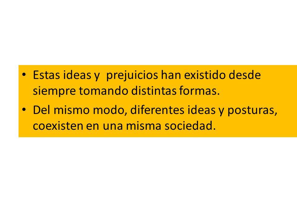 Estas ideas y prejuicios han existido desde siempre tomando distintas formas.