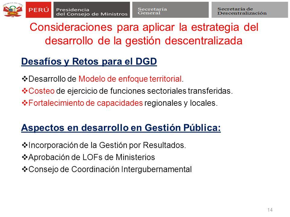 Consideraciones para aplicar la estrategia del desarrollo de la gestión descentralizada