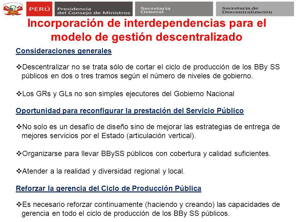 Incorporación de interdependencias para el modelo de gestión descentralizado