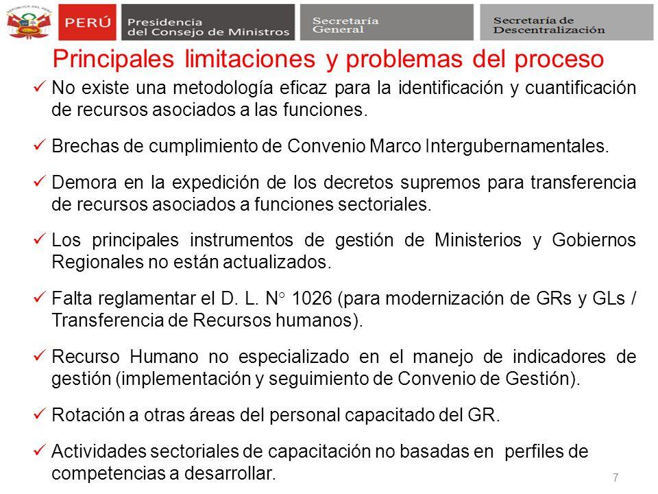 Principales limitaciones y problemas del proceso
