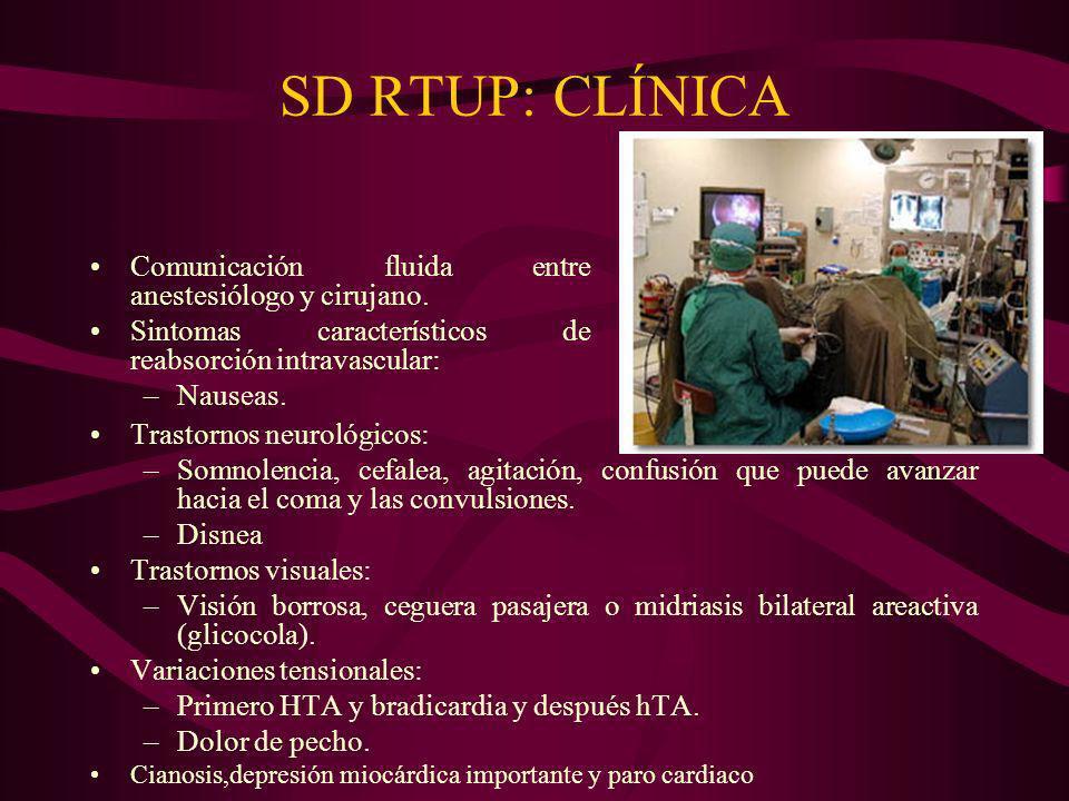 SD RTUP: CLÍNICA Comunicación fluida entre anestesiólogo y cirujano.