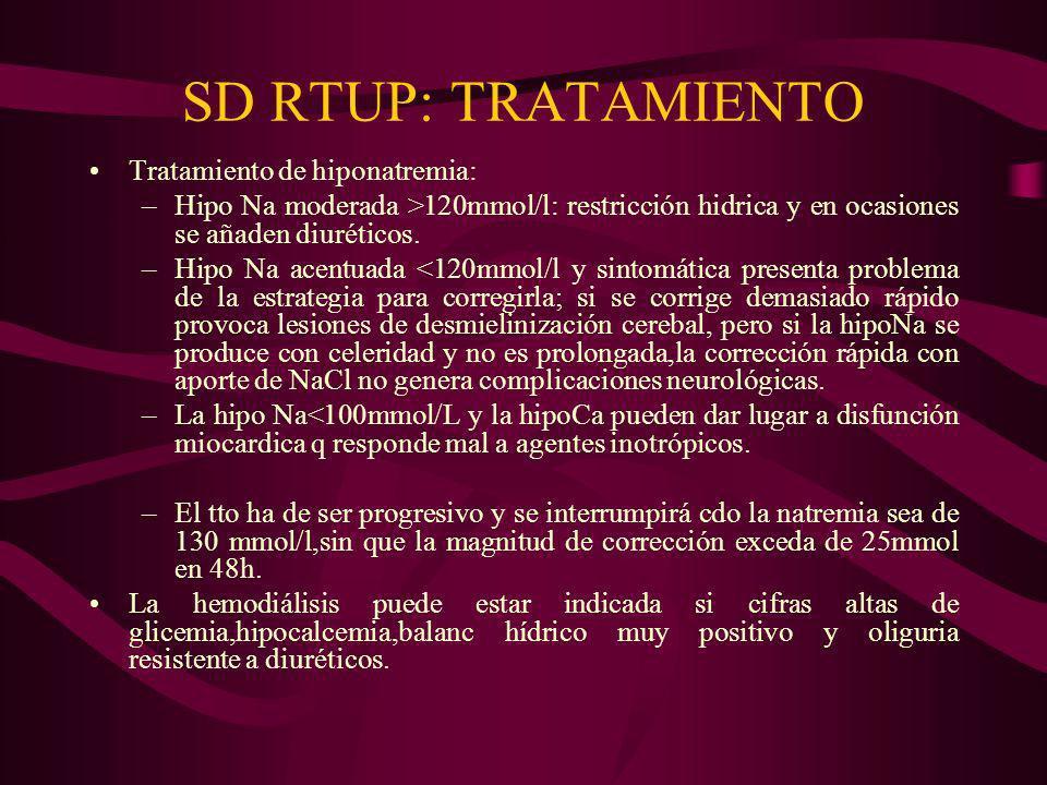 SD RTUP: TRATAMIENTO Tratamiento de hiponatremia: