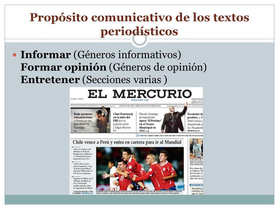 Propósito comunicativo de los textos periodísticos