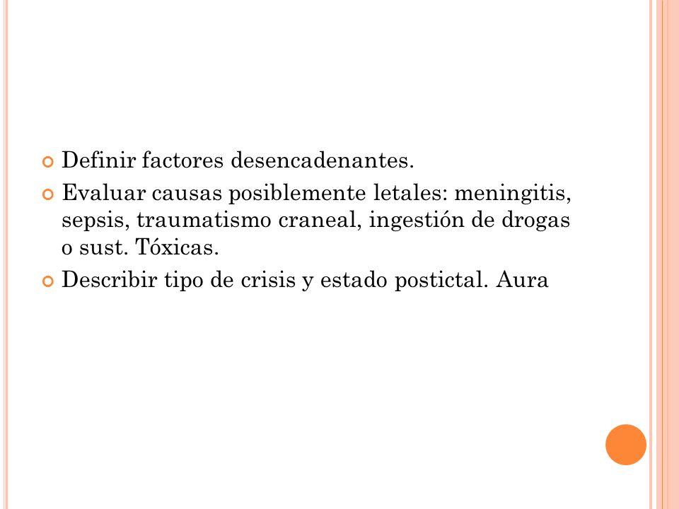 Definir factores desencadenantes.