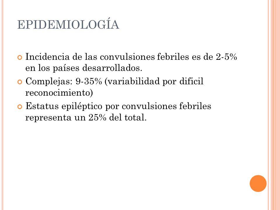 EPIDEMIOLOGÍA Incidencia de las convulsiones febriles es de 2-5% en los países desarrollados.