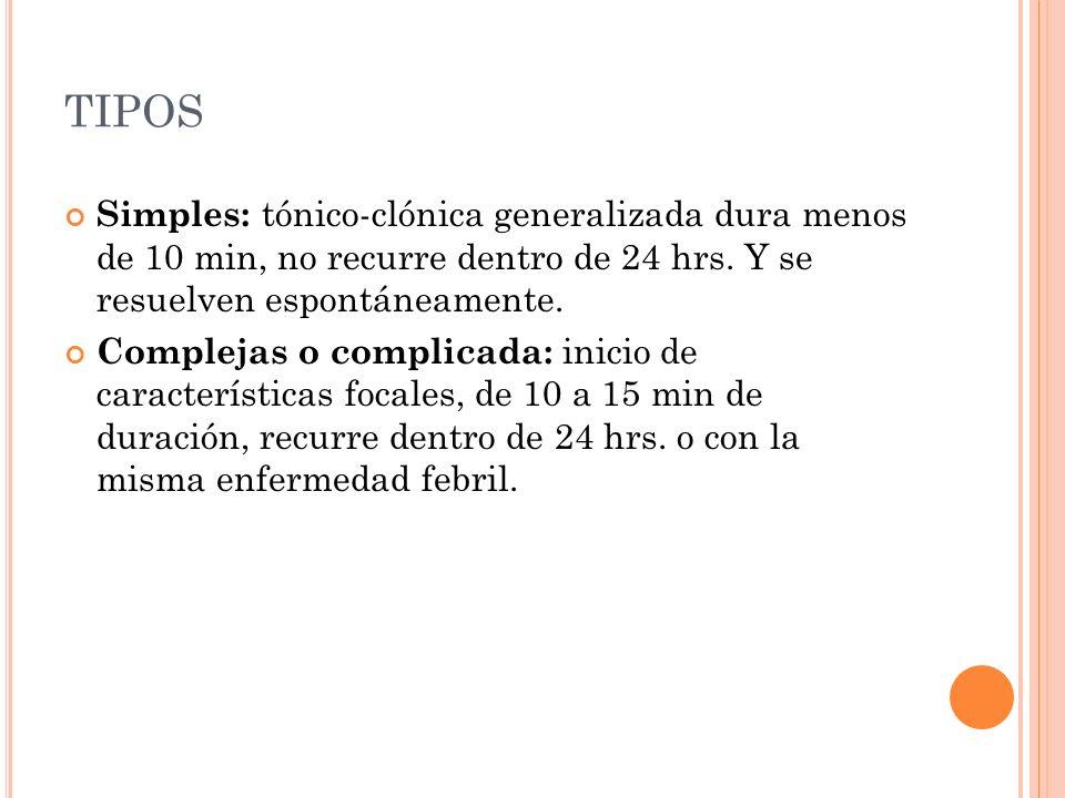 TIPOS Simples: tónico-clónica generalizada dura menos de 10 min, no recurre dentro de 24 hrs. Y se resuelven espontáneamente.