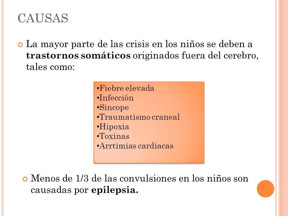 CAUSAS La mayor parte de las crisis en los niños se deben a trastornos somáticos originados fuera del cerebro, tales como:
