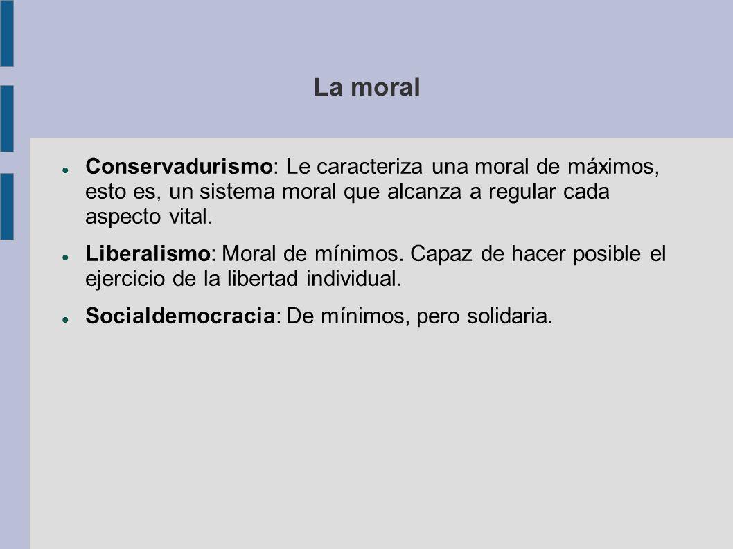La moralConservadurismo: Le caracteriza una moral de máximos, esto es, un sistema moral que alcanza a regular cada aspecto vital.