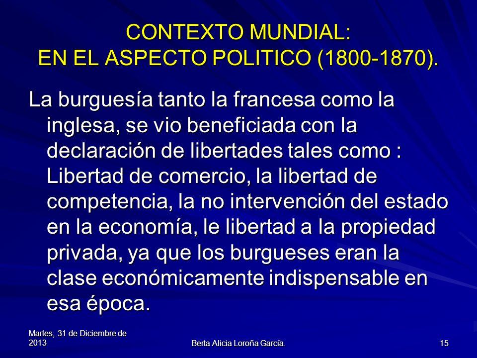 CONTEXTO MUNDIAL: EN EL ASPECTO POLITICO (1800-1870).