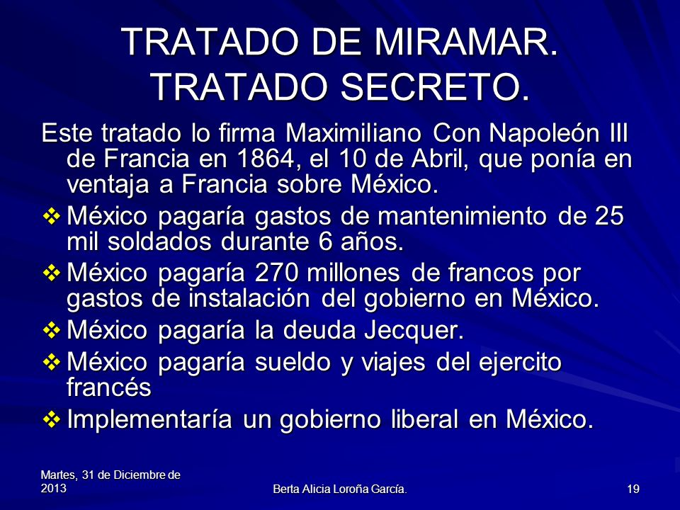 TRATADO DE MIRAMAR. TRATADO SECRETO.