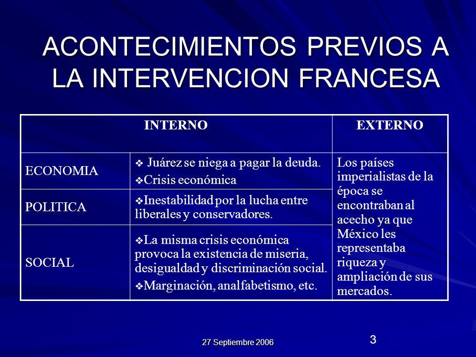ACONTECIMIENTOS PREVIOS A LA INTERVENCION FRANCESA