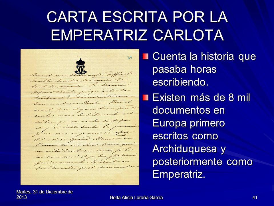 CARTA ESCRITA POR LA EMPERATRIZ CARLOTA