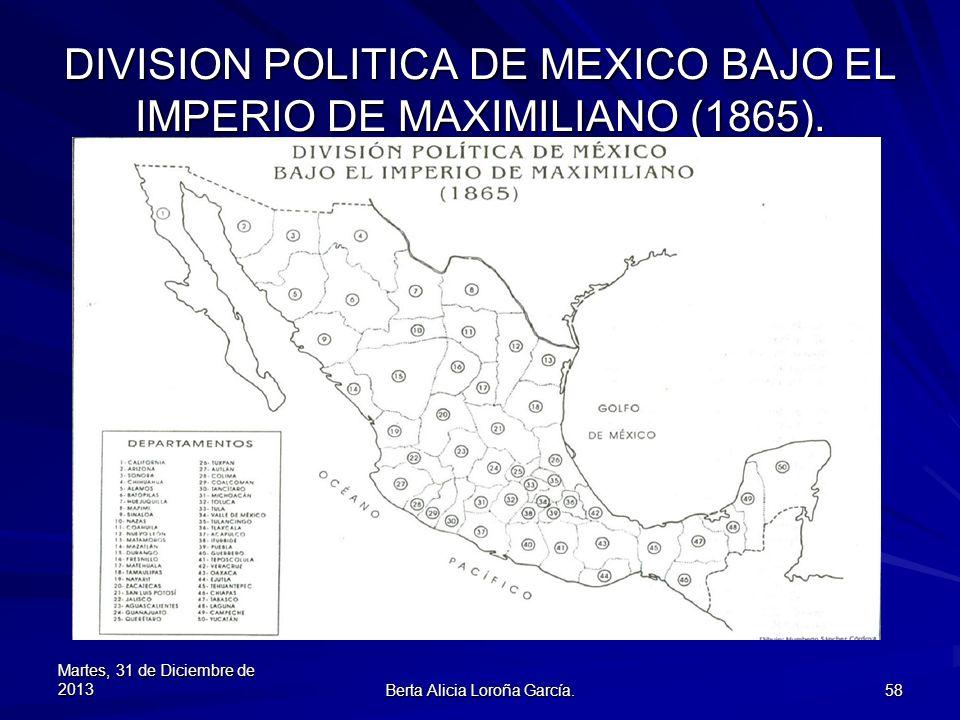 DIVISION POLITICA DE MEXICO BAJO EL IMPERIO DE MAXIMILIANO (1865).