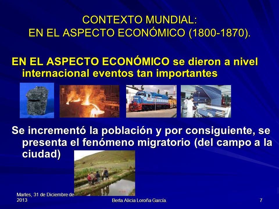 CONTEXTO MUNDIAL: EN EL ASPECTO ECONÓMICO (1800-1870).