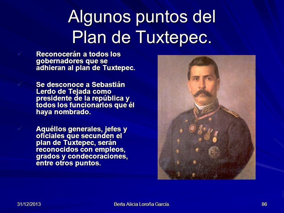 Algunos puntos del Plan de Tuxtepec.
