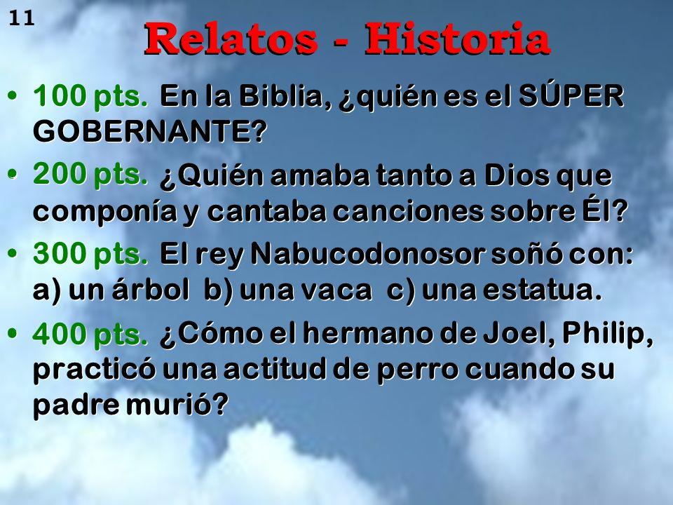 Relatos - Historia 100 pts. 200 pts. 300 pts. 400 pts.