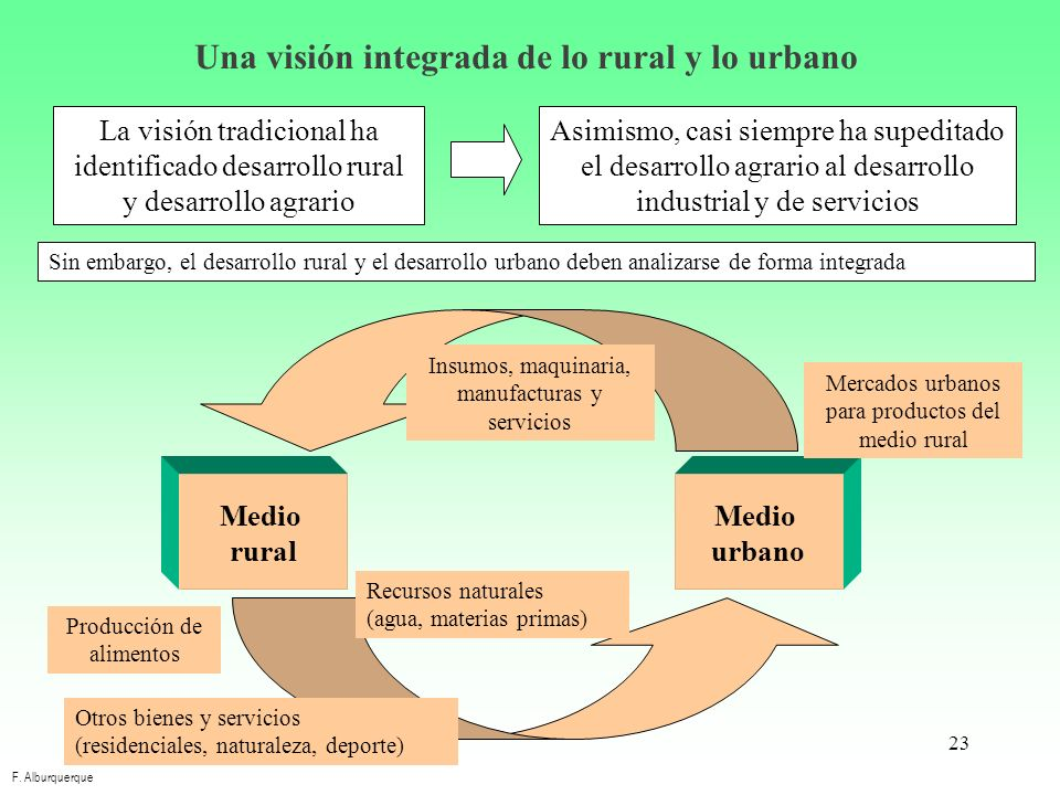 Una visión integrada de lo rural y lo urbano