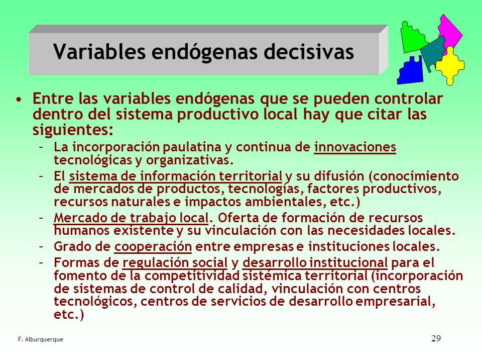 Variables endógenas decisivas