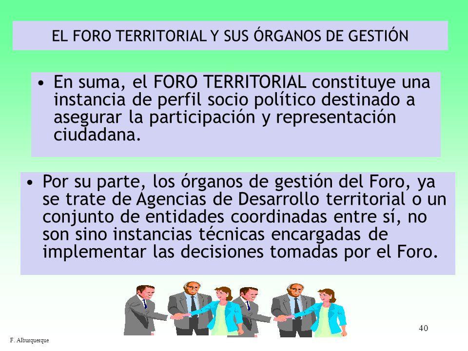 EL FORO TERRITORIAL Y SUS ÓRGANOS DE GESTIÓN