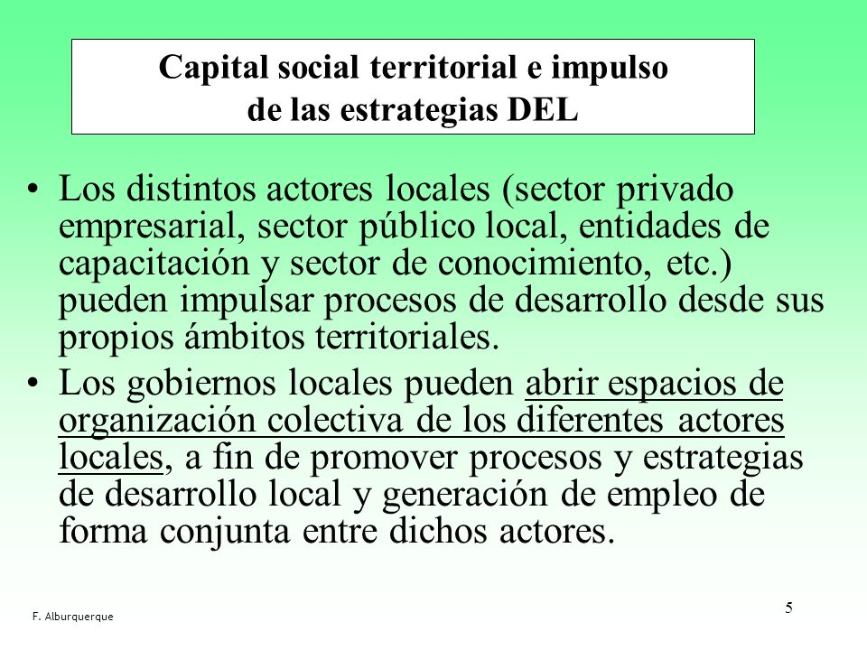 Capital social territorial e impulso de las estrategias DEL