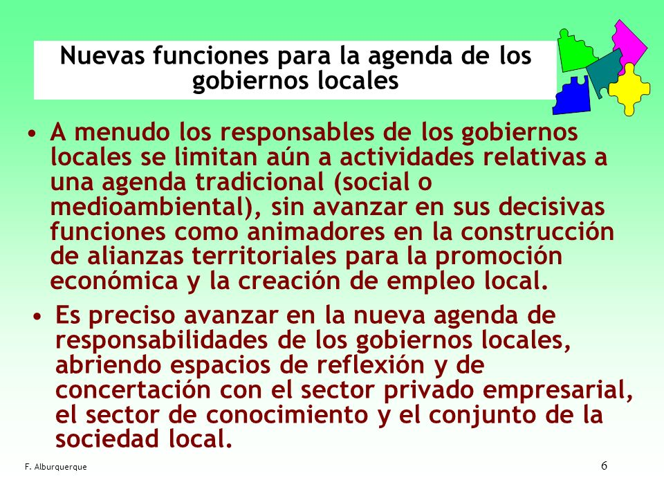 Nuevas funciones para la agenda de los gobiernos locales