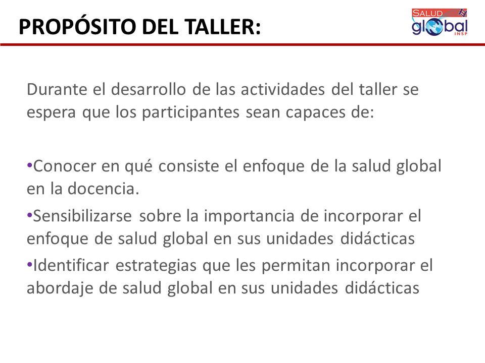 PROPÓSITO DEL TALLER: Durante el desarrollo de las actividades del taller se espera que los participantes sean capaces de: