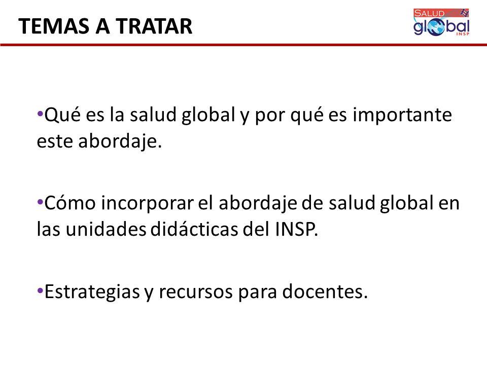 TEMAS A TRATAR Qué es la salud global y por qué es importante este abordaje.
