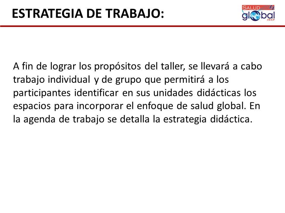 ESTRATEGIA DE TRABAJO: