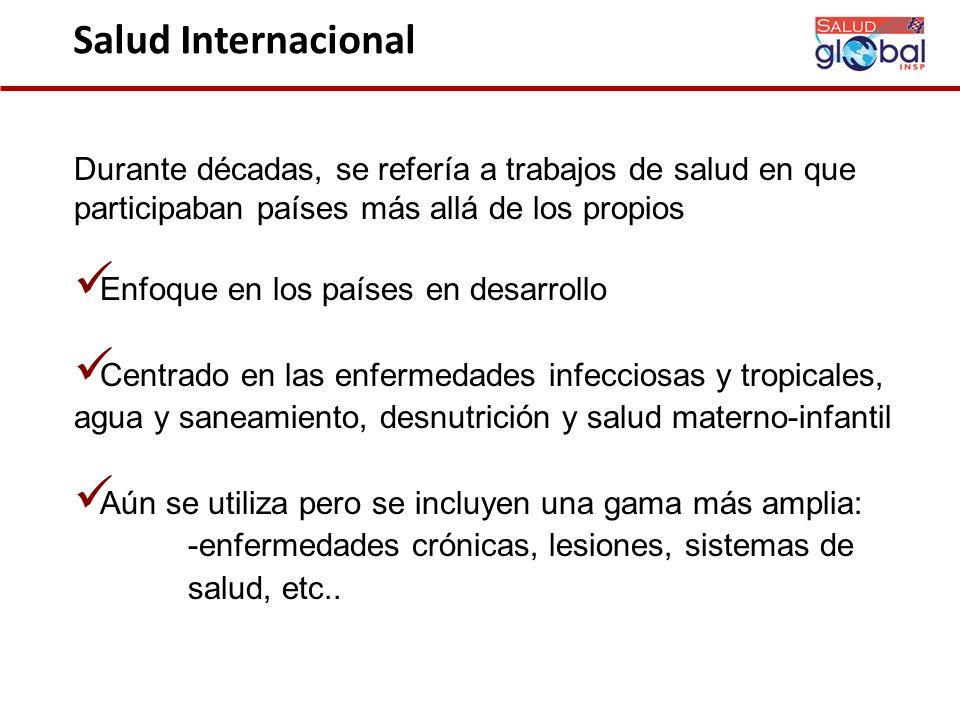 Salud Internacional Durante décadas, se refería a trabajos de salud en que participaban países más allá de los propios.