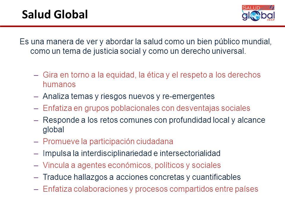 Salud Global Es una manera de ver y abordar la salud como un bien público mundial, como un tema de justicia social y como un derecho universal.