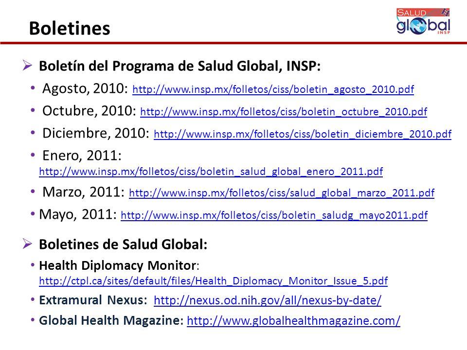 Boletines Boletín del Programa de Salud Global, INSP: