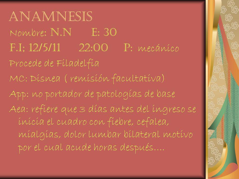 anamnesis Nombre: n.n e: 30 F.i; 12/5/11 22:00 p: mecánico