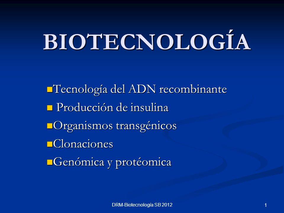 BIOTECNOLOGÍA Tecnología del ADN recombinante Producción de insulina