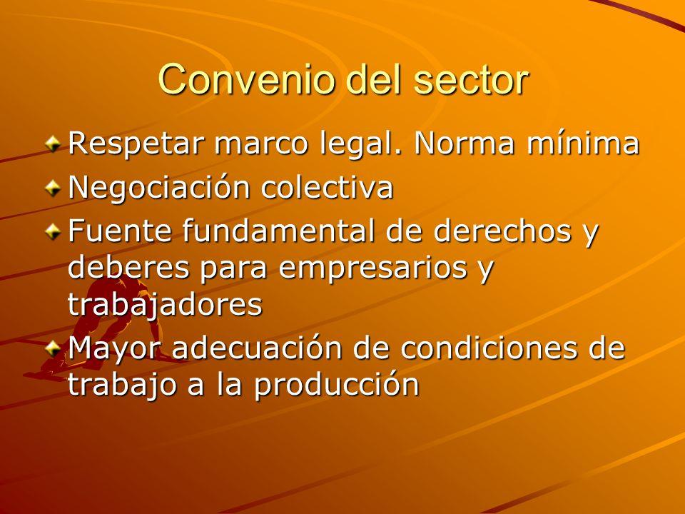 Convenio del sector Respetar marco legal. Norma mínima