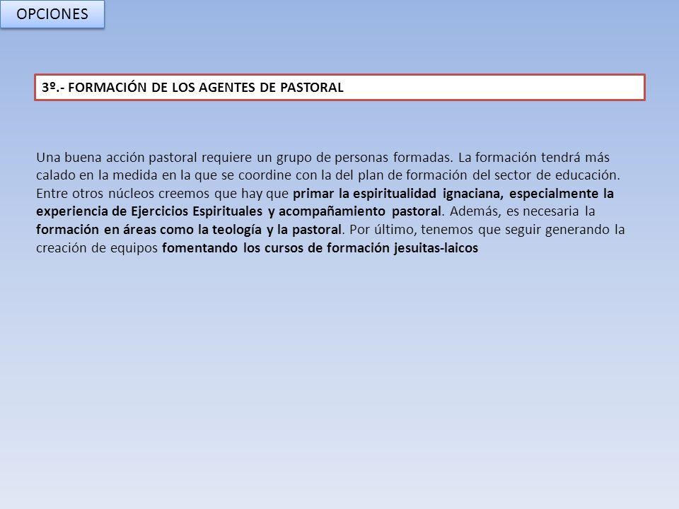 OPCIONES 3º.- FORMACIÓN DE LOS AGENTES DE PASTORAL