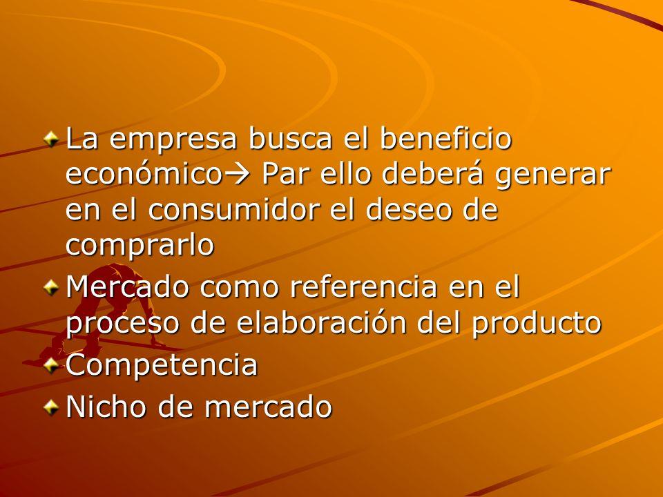 La empresa busca el beneficio económico Par ello deberá generar en el consumidor el deseo de comprarlo