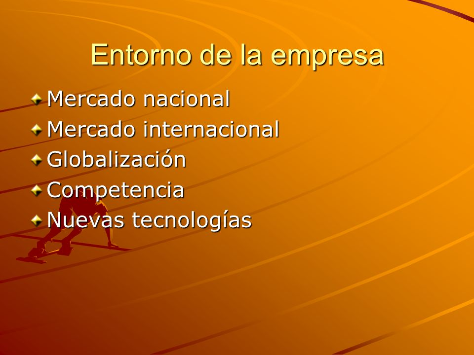 Entorno de la empresa Mercado nacional Mercado internacional