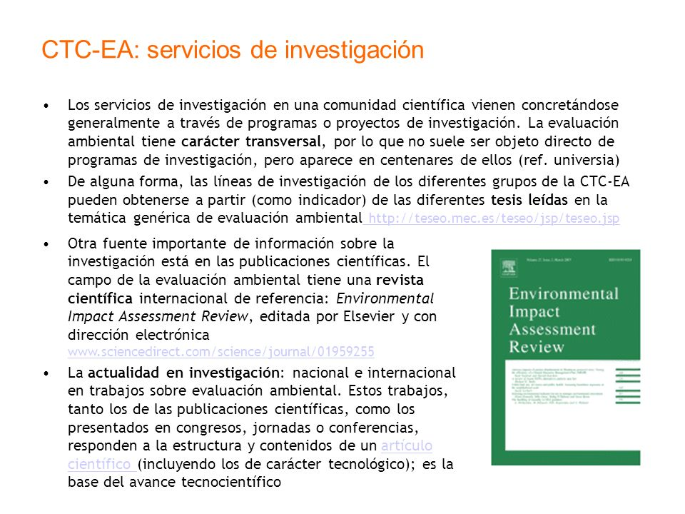 CTC-EA: servicios de investigación