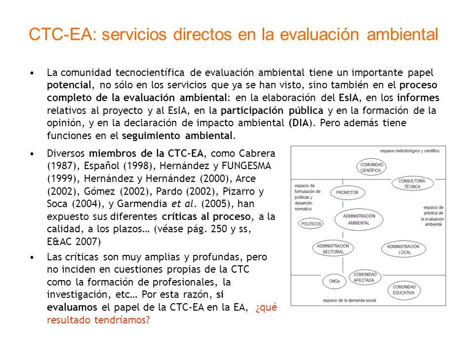 CTC-EA: servicios directos en la evaluación ambiental