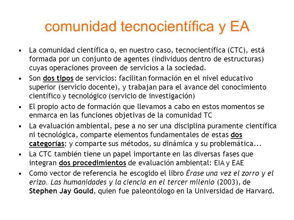 comunidad tecnocientífica y EA