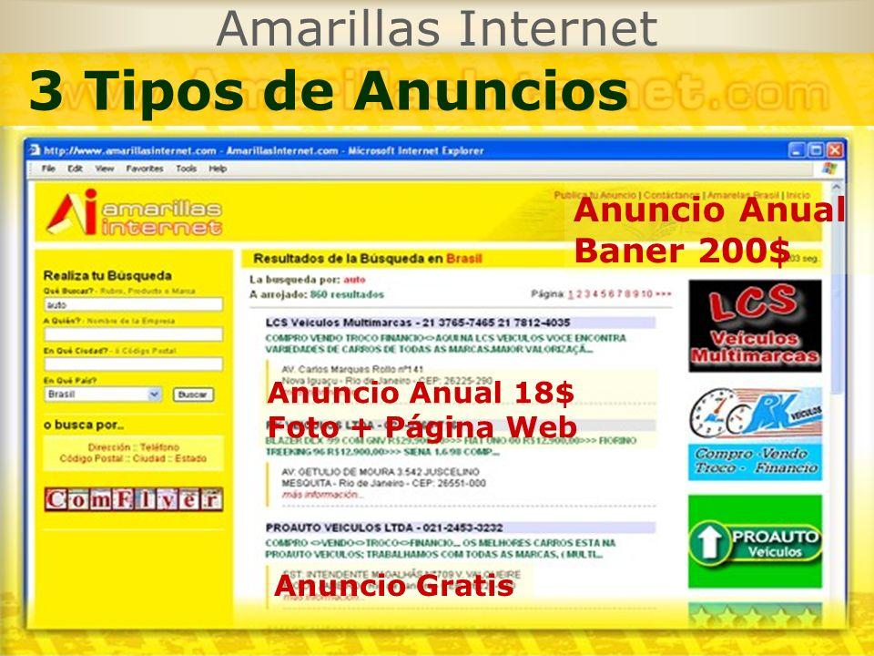 3 Tipos de Anuncios Amarillas Internet Anuncio Anual Baner 200$